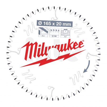 MILWAUKEE Pilový kotouč hliník 165X20X2.2X52TF NEG. 4932471296
