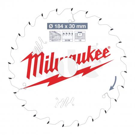 MILWAUKEE Pilový kotouč dřevo 184X30X1.6X24ATB 4932471297