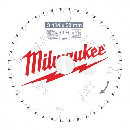 MILWAUKEE Pilový kotouč dřevo 184X30X2.1X40ATB 4932471298