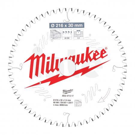 MILWAUKEE Pilový kotouč dřevo 216X30X2.4X60ATB NEG. 4932471317