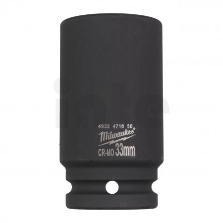"""MILWAUKEE Průmyslové hlavice Shockwave 3/4"""" HEX 33mm prodloužené 4932471650"""