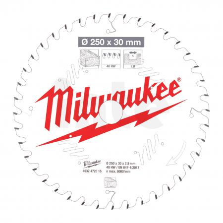 MILWAUKEE Pilový kotouč dřevo 250x30x2.8x40ATB 4932472015