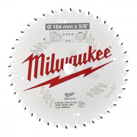 MILWAUKEE Pilový kotouč dřevo 184X5/8X2.1X40ATB 4932471379