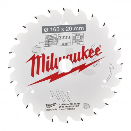 MILWAUKEE Pilový kotouč dřevo 165x20x1.6x24ATB 4932471931