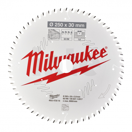 MILWAUKEE Pilový kotouč dřevo 250x30x2.8x60ATB 4932472016